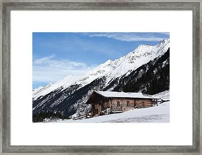 Mountain Hut Or Alpe During Winter Framed Print by Martin Zwick