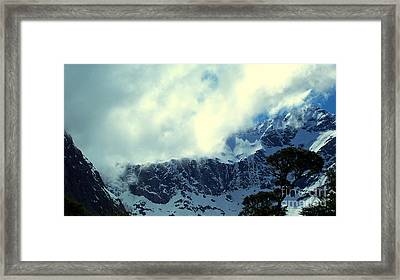 Mountain In New Zealand Framed Print