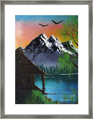 Mountain Lake Cabin W Eagles Framed Print
