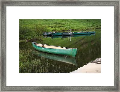 Mountain Lake Canoe Framed Print