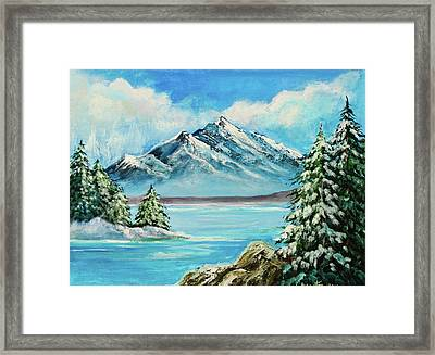 Framed Print featuring the painting Mountain Lake In Winter Original Painting Forsale by Bob and Nadine Johnston