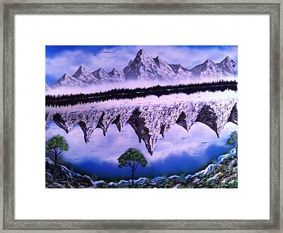 Framed Print featuring the painting Mountain Lake by Michael Rucker