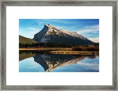 Mountain Lake Reflecting Mountain Framed Print by Michael Interisano