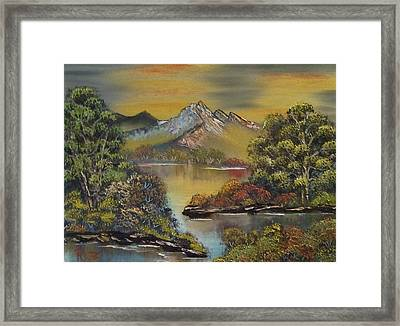 Mountain Lake Reflections Framed Print by Lee Bowman