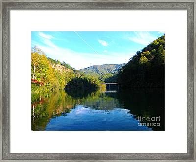 Mountain Lake Reflections Framed Print by Lorraine Heath