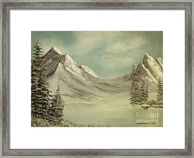 Mountain Lake Winter Scene Framed Print