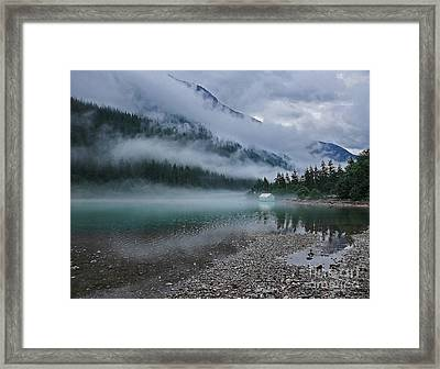 Mountain Lake With Heavy Fog Ross Lake Washington Framed Print
