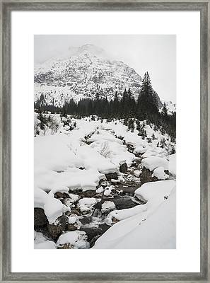 Mountain Landscape With A River In The Alps In Winter Framed Print