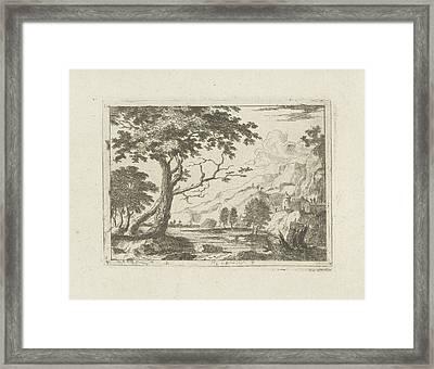 Mountain Landscape With A River, Jean Joseph Hanson Framed Print