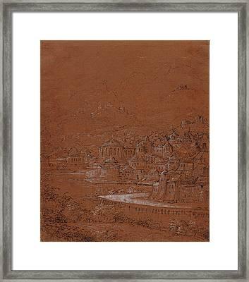 Mountain Landscape With An Imaginary City Hanns Lautensack Framed Print