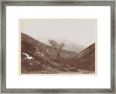 Mountain Landscape With Bare Tree And Some Snow Framed Print by Artokoloro