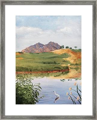 Mountain Landscape With Egret Framed Print