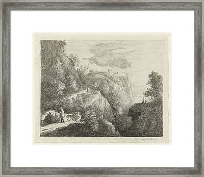 Mountain Landscape With Figures Resting On Side Of Road Framed Print