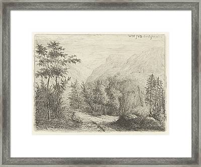 Mountain Landscape With Resting Figure Along Road Framed Print
