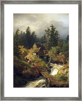 Mountain Landscape With Torrent And Water-mill Framed Print