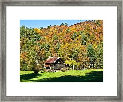 Framed Print featuring the photograph Mountain Log Home In Autumn by Susan Leggett