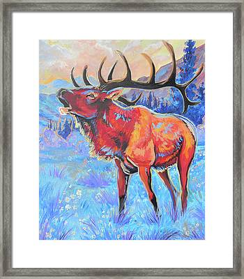 Framed Print featuring the painting Mountain Lord by Jenn Cunningham