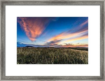 Mountain Meadow Sunset Framed Print by Jonathan Gewirtz