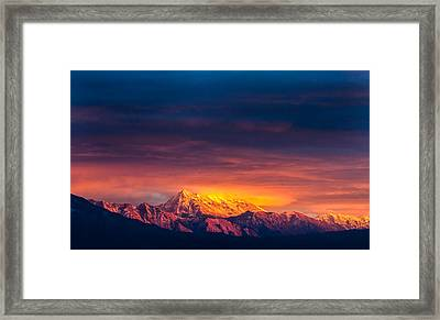 Mountain On Fire Framed Print by Peter Irwindale