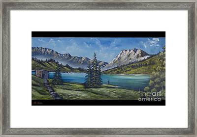 Mountain Painting A La Bob Ross Framed Print by Bruno Santoro