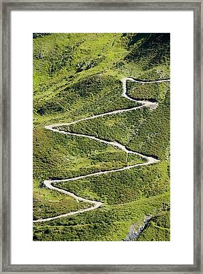 Mountain Path Up To The Col Du Balme Framed Print