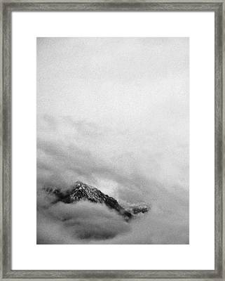 Mountain Peak In Clouds Framed Print by Peter v Quenter