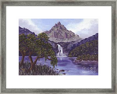 Mountain Peak Framed Print by Val Miller