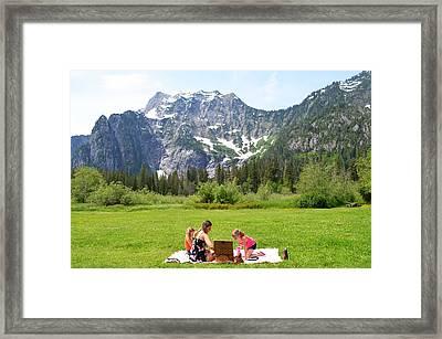 Mountain Picnic Framed Print by Kelly Reber