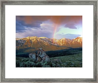 Mountain Rainbow Framed Print by Leland D Howard