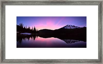 Mountain Rainier Reflection Lake Framed Print