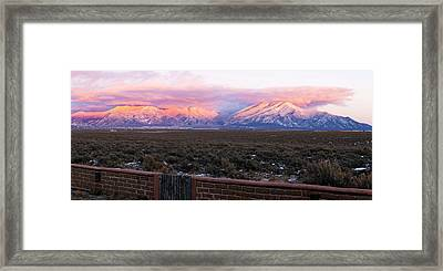 Mountain Range Viewed From A Adobe Framed Print by Panoramic Images