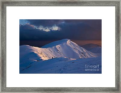 Mountain Ridge In Sunset Framed Print by Florea Marius Catalin