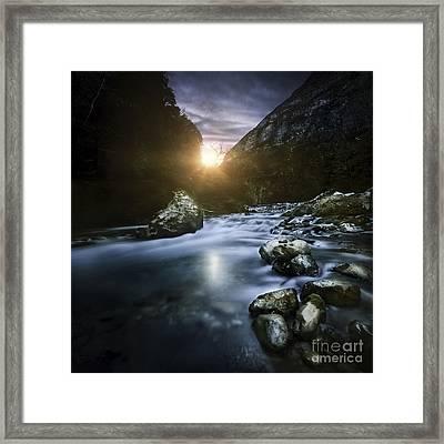 Mountain River At Sunset, Ritsa Nature Framed Print by Evgeny Kuklev