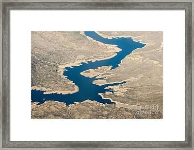 Mountain River From The Air Framed Print by Darleen Stry