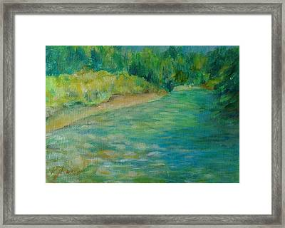 Mountain River In Oregon Colorful Original Oil Painting Framed Print