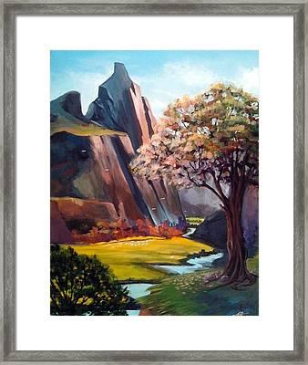 Mountain Scenery Framed Print by Fariha Rashid