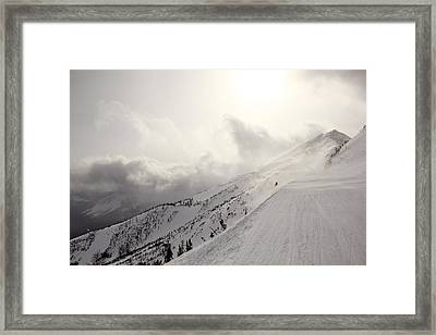 Mountain Snow Storm Approaching Ski Run Framed Print