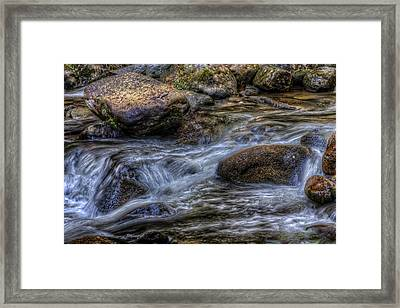 Mountain Stream On The Rocks Framed Print
