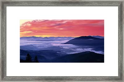 Mountain Sunrise Framed Print by Leland D Howard