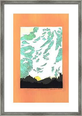 Mountain Sunrise - Paper Cut Framed Print