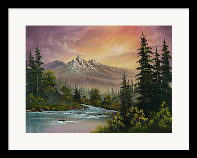 Sawtooth Mountain Paintings Framed Prints