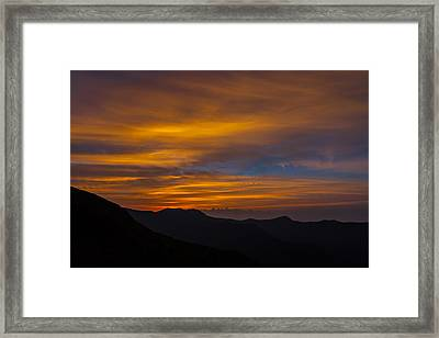 Mountain Sunset Framed Print by David Cote