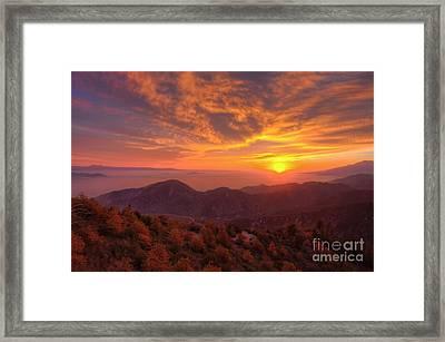Mountain Sunset Framed Print by Eddie Yerkish