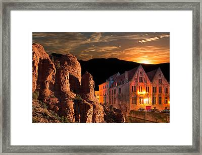 Mountain Sunset Framed Print by Fred Larson