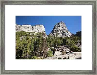 Mountain Trail And Bridge Framed Print