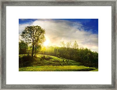 Mountain Valley Framed Print by Debra and Dave Vanderlaan