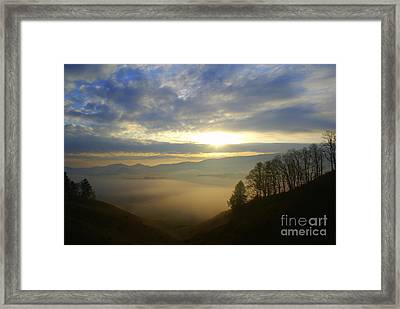 Mountain Valley Sunrise Framed Print