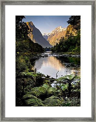 Mountain Valley Framed Print by Tim Hester