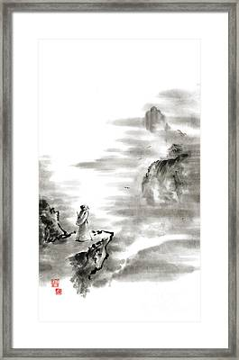 Mountain View Poet In Mountain Haiku Sky Snow And Clouds Landscape Sumi-e Original Ink Painting Framed Print by Mariusz Szmerdt
