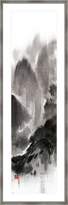 Mountain View Sky Snow And Clouds Landscape Sumi-e Original Ink Painting Framed Print by Mariusz Szmerdt